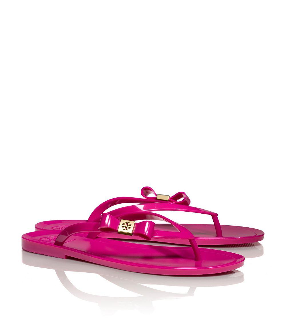 d479540359d1e Tory Burch Michaela Bow Jelly Flip Flop in Pink - Lyst