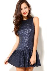 Akira Drop Waist Sequin Dress In Blue - Lyst