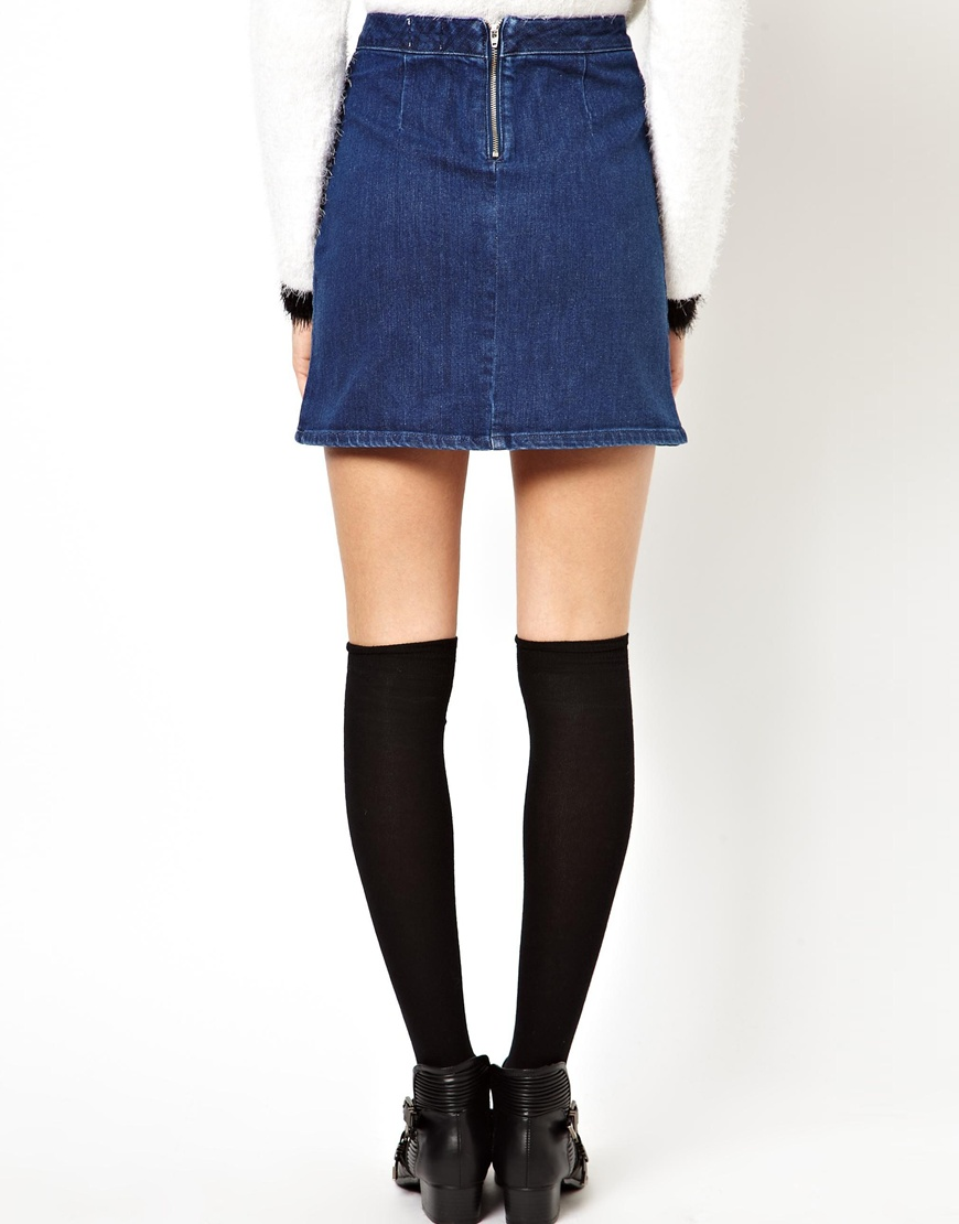 Asos A-Line Denim Skirt In Blue in Blue | Lyst