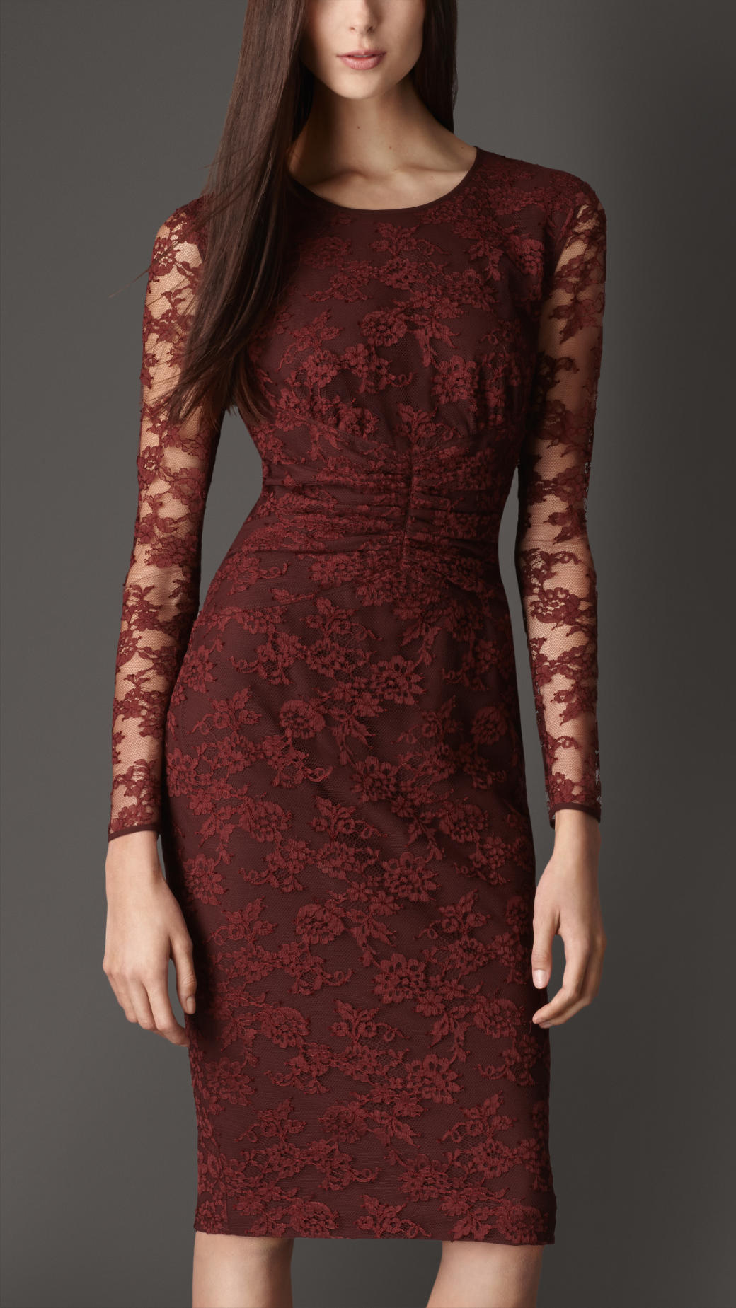 Lyst Burberry Gathered Waist Lace Dress In Red