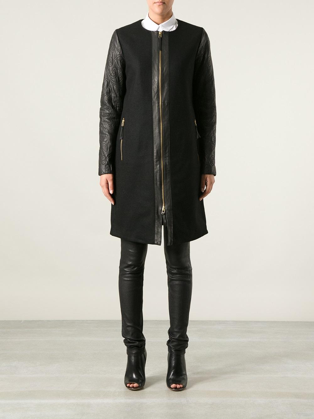 lyst day birger et mikkelsen applique day coat in black. Black Bedroom Furniture Sets. Home Design Ideas