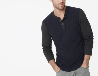 James Perse Color Blocked Henley - Lyst