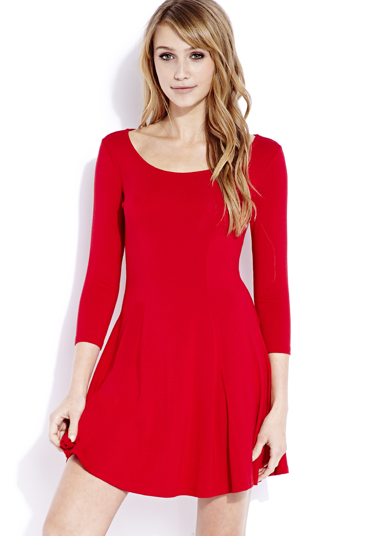 Forever 21 Go To Fit Amp Flare Dress In Red Lyst