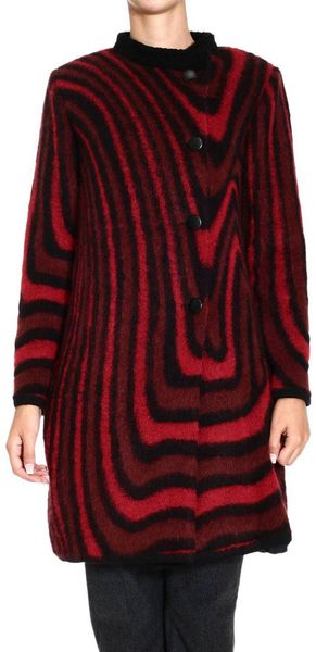 Iceberg Waves Knitted Asymmetric Fastener Coat  - Lyst