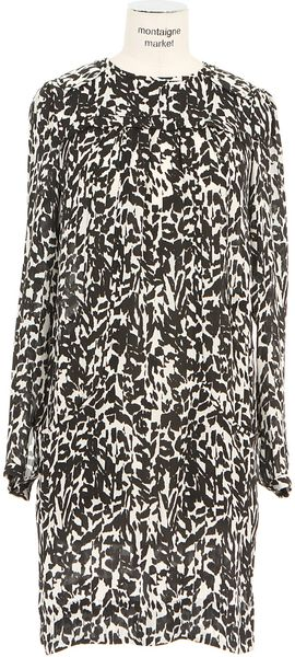 Isabel Marant Black and White Leopard print Charmeuse Maybe Dress - Lyst