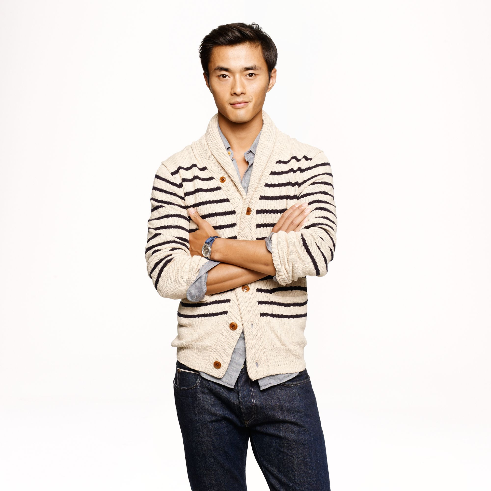 J.crew Stripe Cotton Shawl Cardigan in Black for Men | Lyst