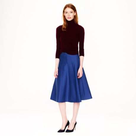 j crew collection scallop midi skirt in blue