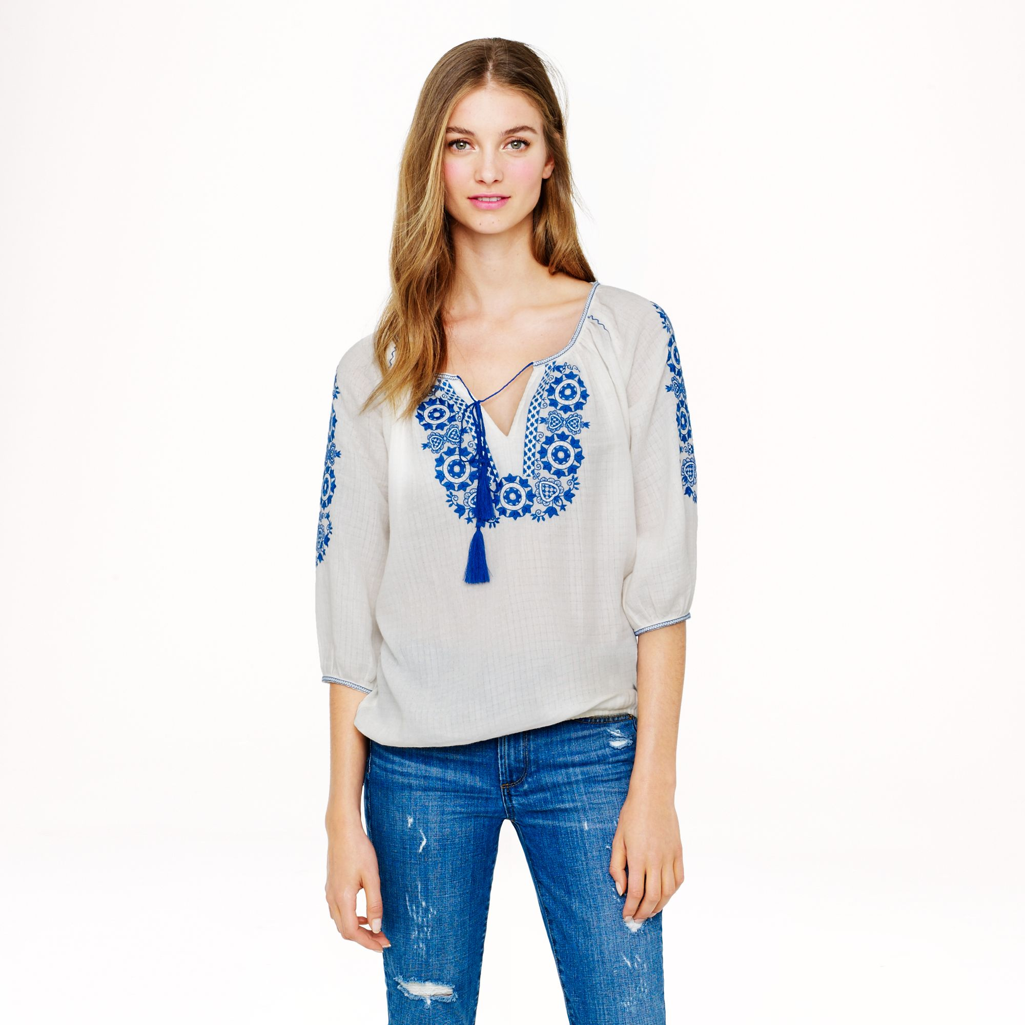 Lyst - J.Crew Embroidered Peasant Top in White b58c3d217b