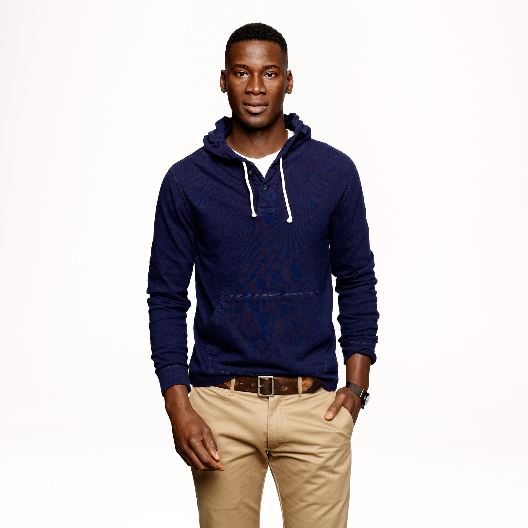 J.crew Halyard Henley Hoodie in Blue for Men | Lyst