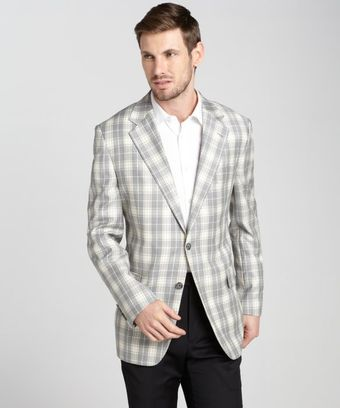 Joseph Abboud Grey And Brown Plaid Wool Blend 2 Button Blazer - Lyst