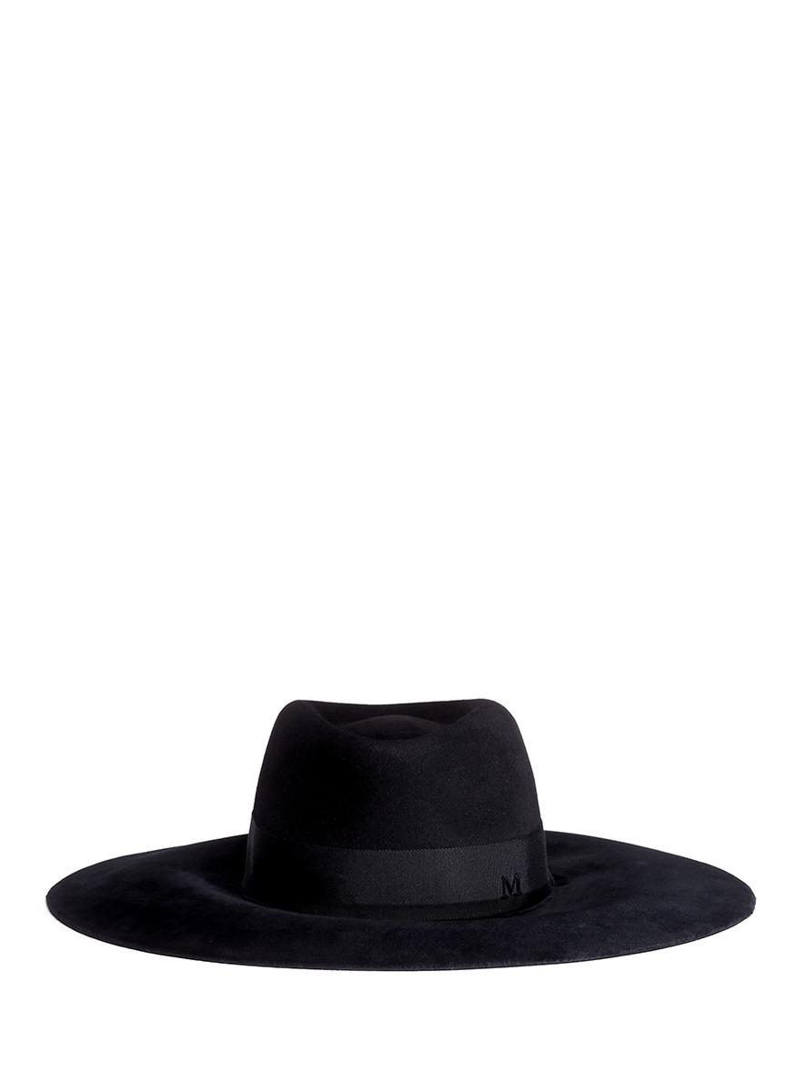 Lyst - Maison Michel Fara Velvet Brim Furfelt Cowboy Hat in Black 9234114e9bf