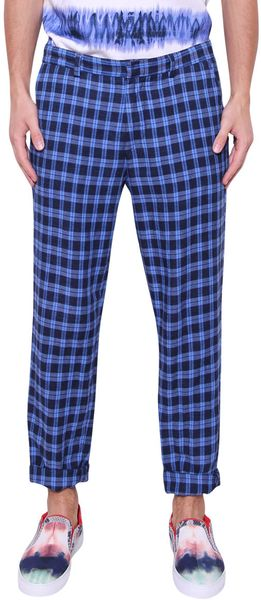MSGM Cotton and Linen Check Trousers - Lyst