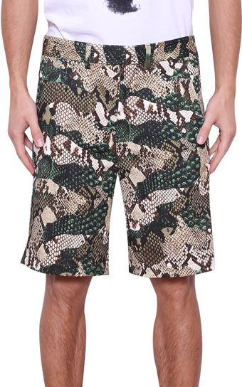 MSGM Python Print Cotton Shorts - Lyst