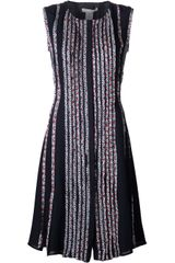 Oscar de la Renta Sleeveless Pleated Dress - Lyst