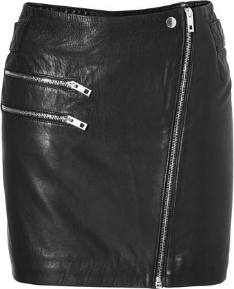 Rag & Bone Leather Hudson Skirt In Black - Lyst
