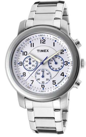 Timex® Mens Chronograph White Textured Dial Stainless Steel - Lyst
