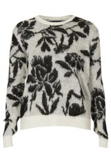Topshop Knitted Brushed Floral Jumper - Lyst