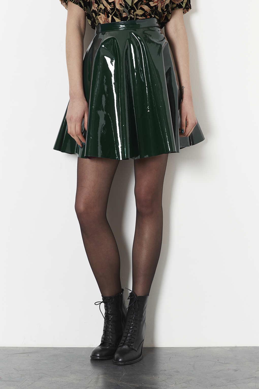Lyst Topshop Forest Vinyl Skater Skirt In Green
