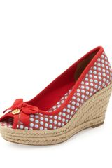 Tory Burch Jackie Peeptoe Canvas Wedge Red - Lyst