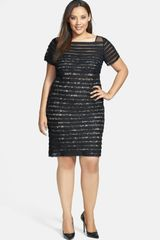 Adrianna Papell Banded Illusion Sheath Dress - Lyst