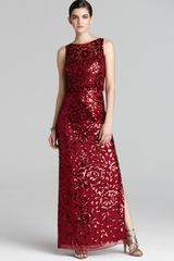 Aidan Mattox Sleeveless Sequin Beaded Overlay Gown - Lyst
