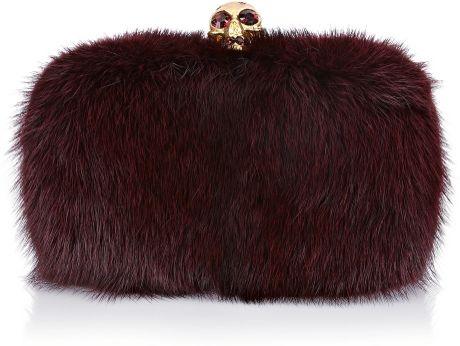 Alexander Mcqueen Oxblood Fur Skull Box Clutch in Purple (oxblood)