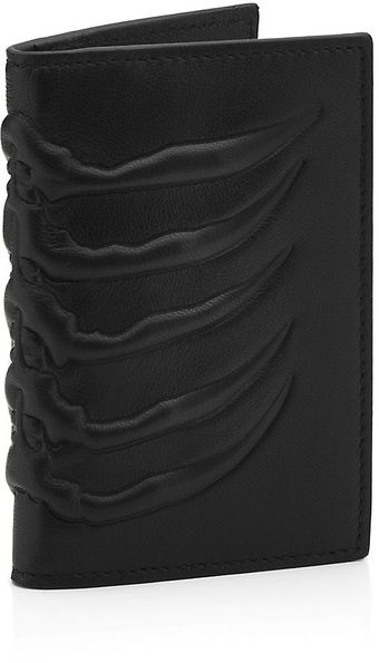 Alexander McQueen Embossed Leather Ribcage Card Holder - Lyst