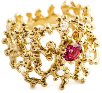 Arosha Luigi Taglia Coral Gold Diamond Ring with Spinel - Lyst