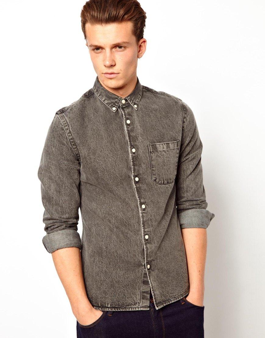 Asos Denim Shirt In Long Sleeve in Black for Men | Lyst