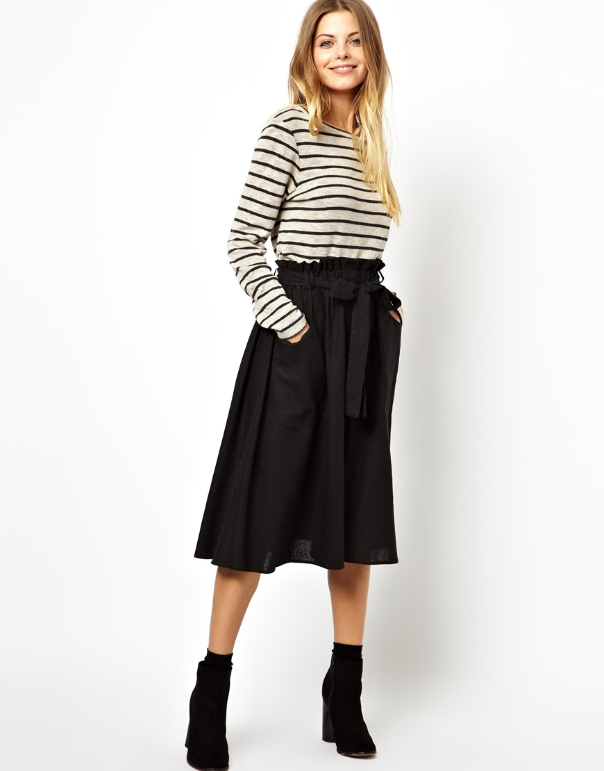 Asos Linen Midi Skirt With Pocket Detail in Black | Lyst