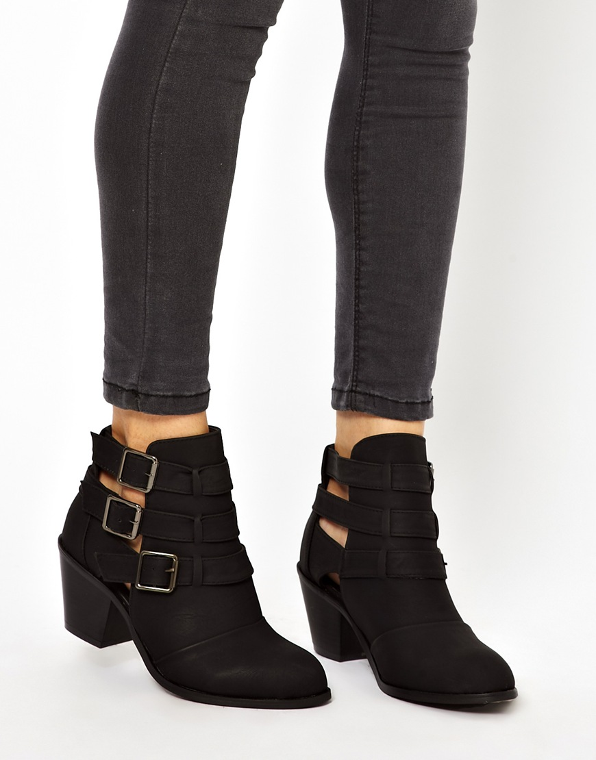 Michael kors New Look Wide Fit Cave Black Cut Out Heeled Ankle ...