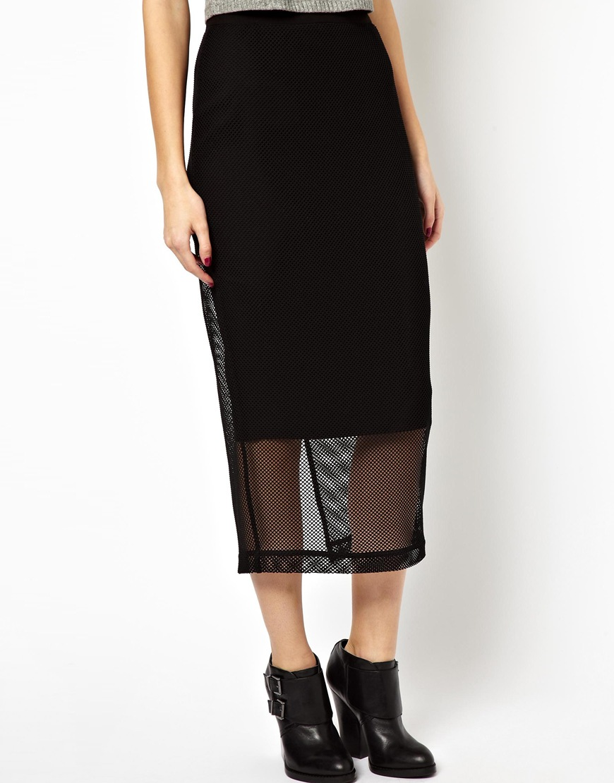 asos pencil skirt with mesh overlay in black lyst