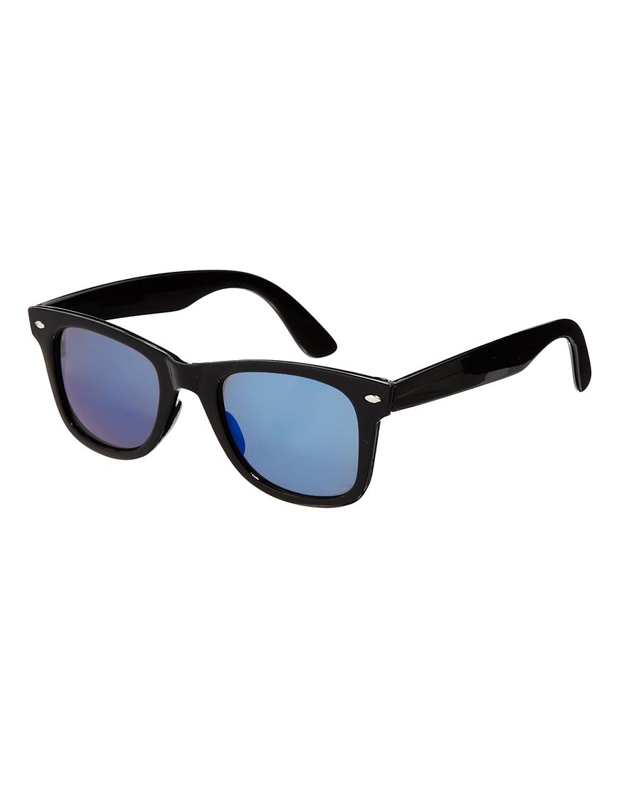 Asos wayfarer sunglasses with blue mirror lens in black for Mirror sunglasses