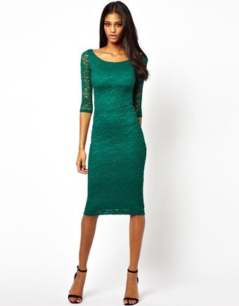 Asos Bardot Lace Midi Dress - Lyst