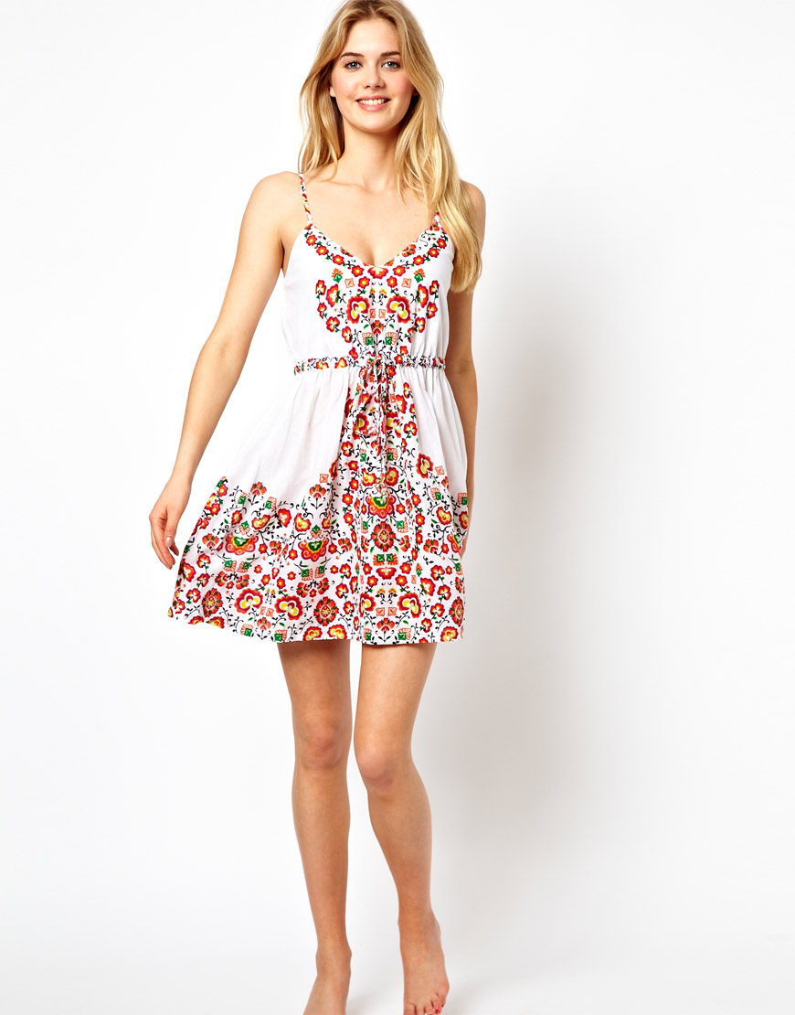 Lyst Asos Oasis Flowered Placement Print Beach Dress In White