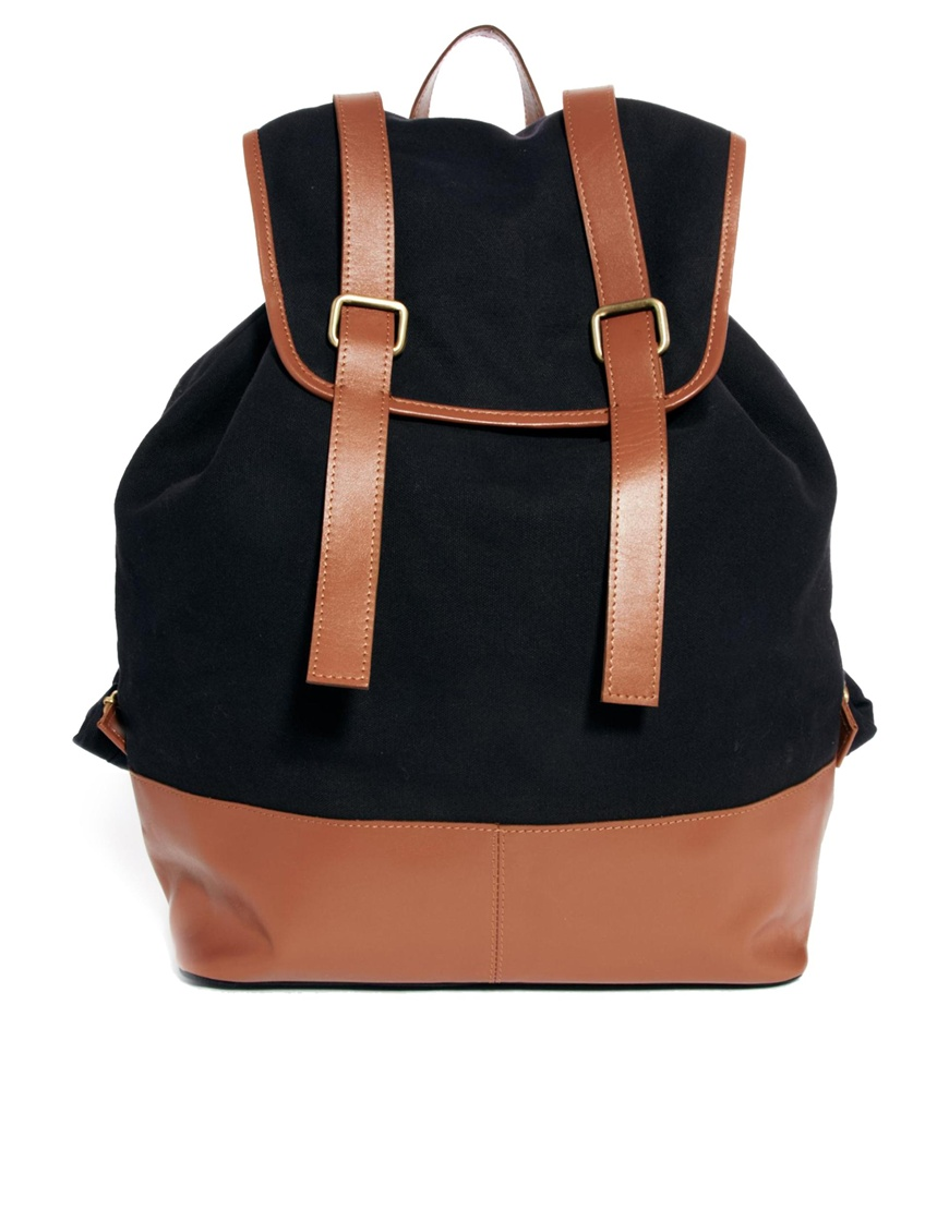 Asos Backpack with Double Leather Strap in Black for Men   Lyst
