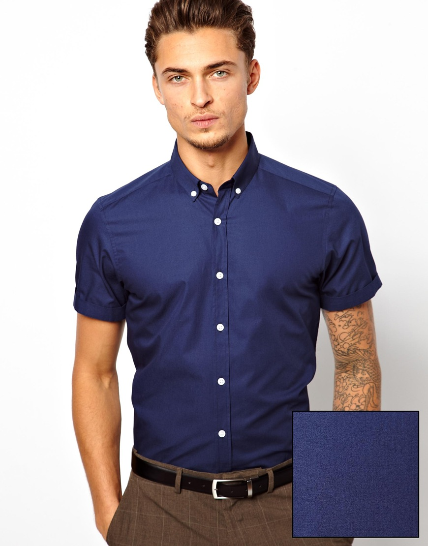 01256c9a144 Lyst - ASOS Smart Shirt in Short Sleeve with Button Down Collar in ...