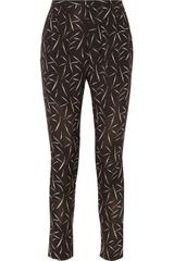 Band Of Outsiders Printed Silk Crepe De Chine Tapered Pants - Lyst