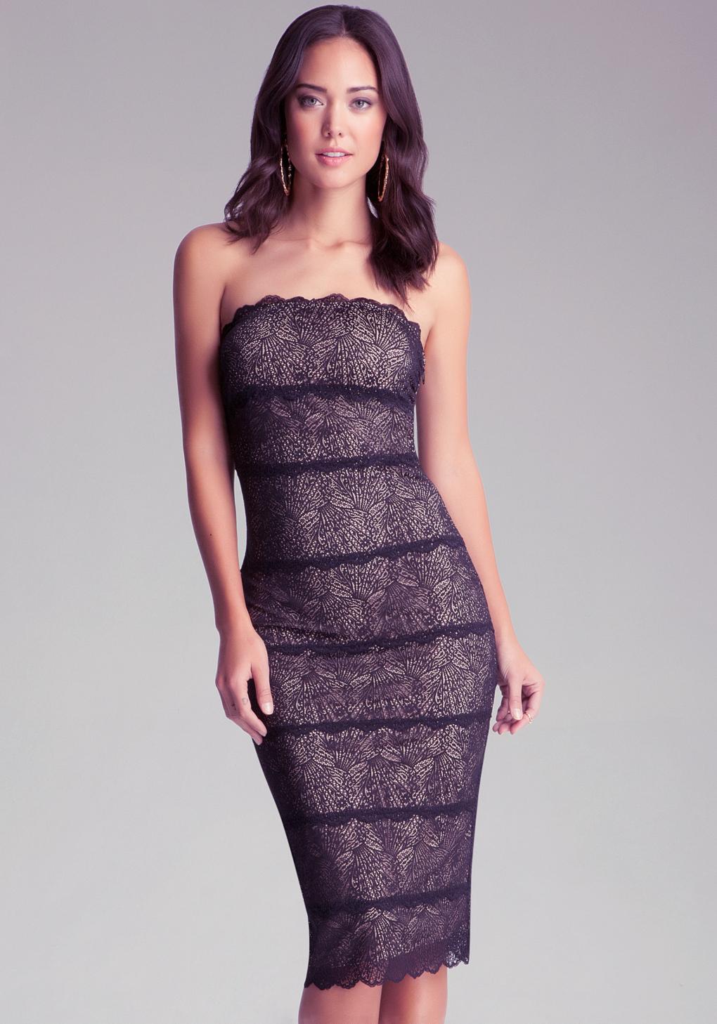 Lyst - Bebe Strapless Lace Midi Dress in Black 1c28b7d99