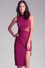 Bebe Mock Neck Midi Dress - Lyst