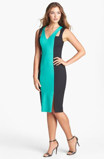 Black Halo Ayanna Colorblock Scuba Sheath Dress - Lyst