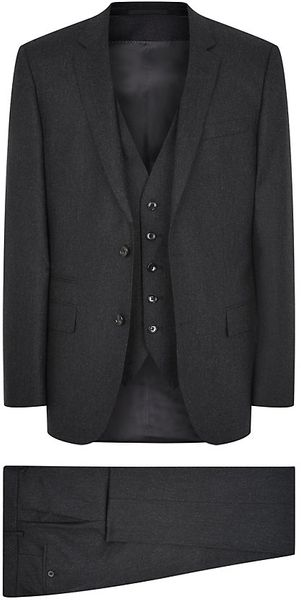 Boss Black Man Threepiece Slim Fit Wool Suit - Lyst
