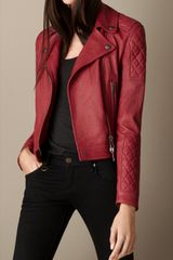 Burberry Grainy Leather Quilted Biker Jacket - Lyst