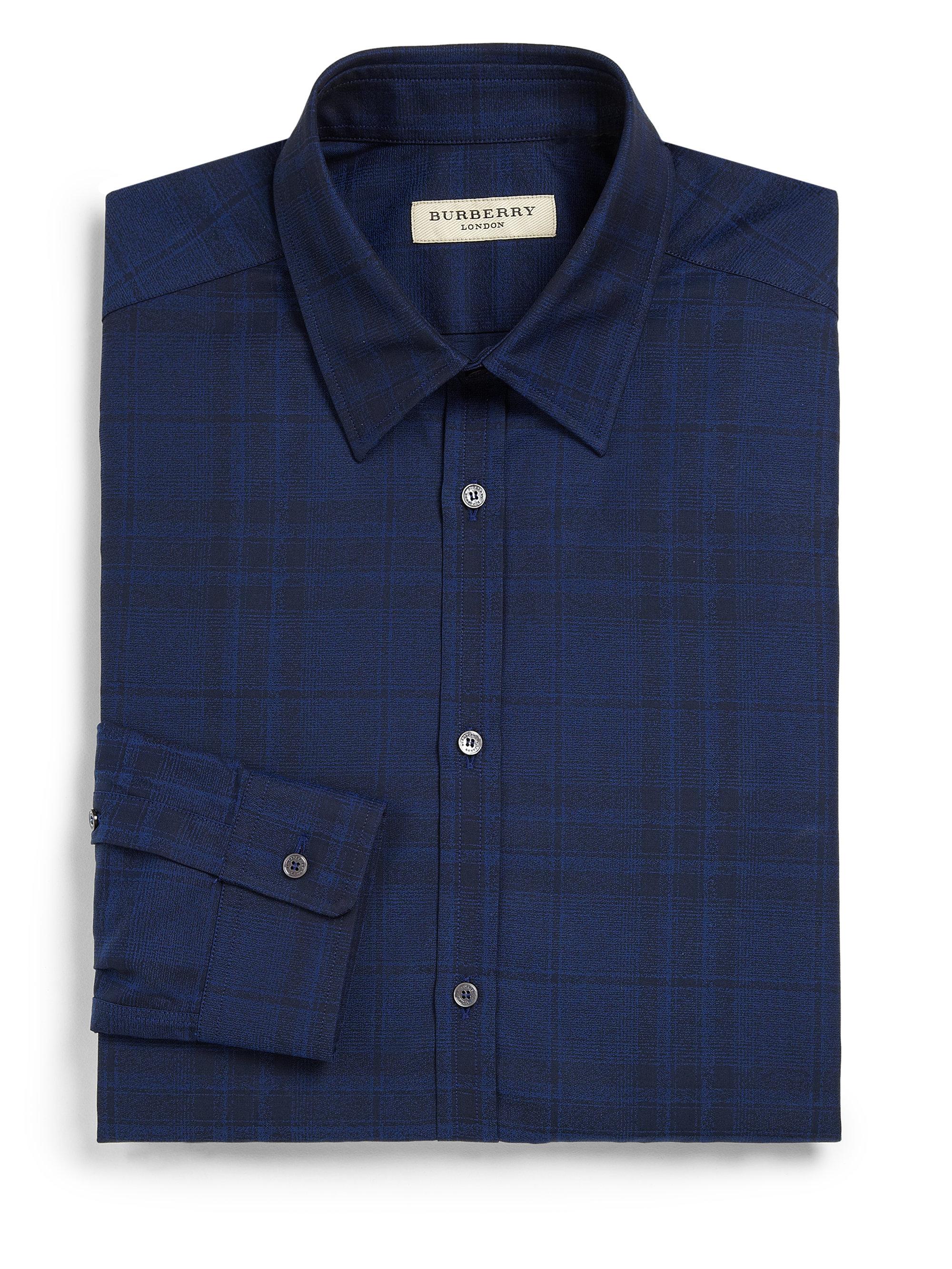 Burberry Tonal Check Dress Shirt In Blue For Men Aqua Lyst