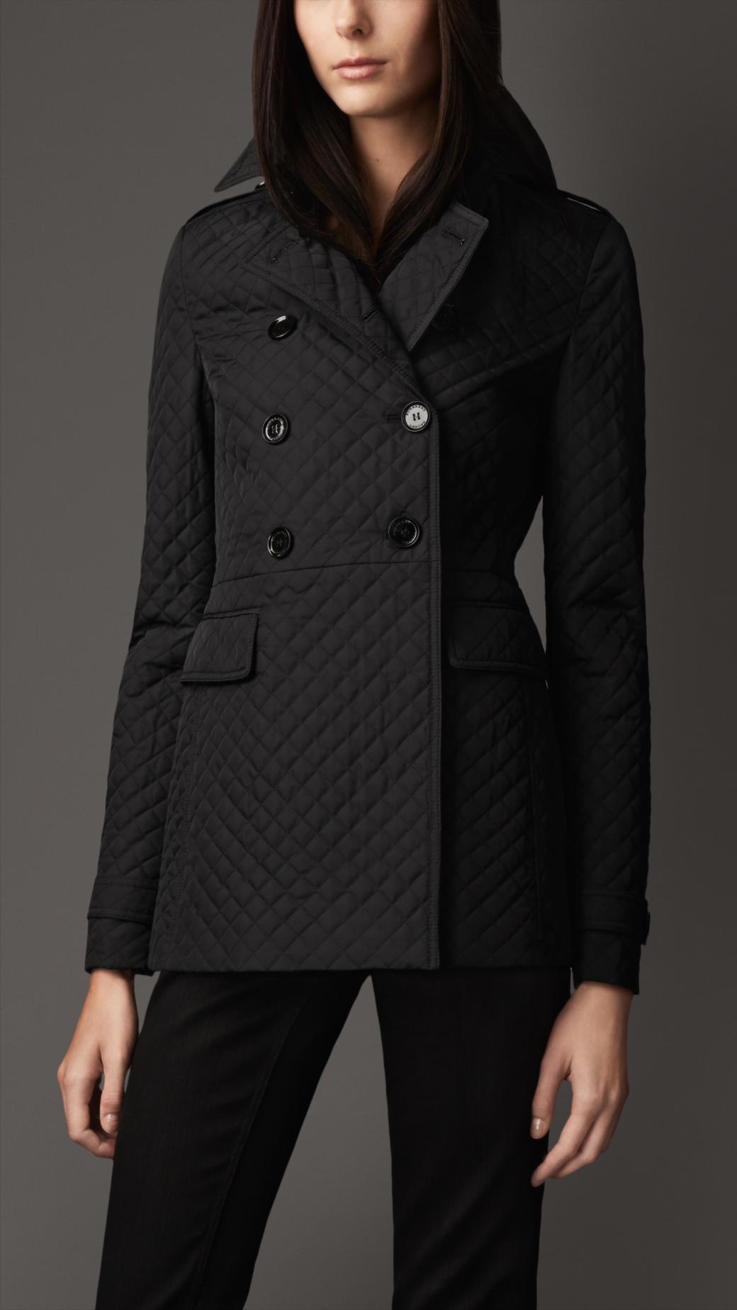 Burberry Slim Fit Quilted Pea Coat in Black | Lyst : quilted pea coat - Adamdwight.com