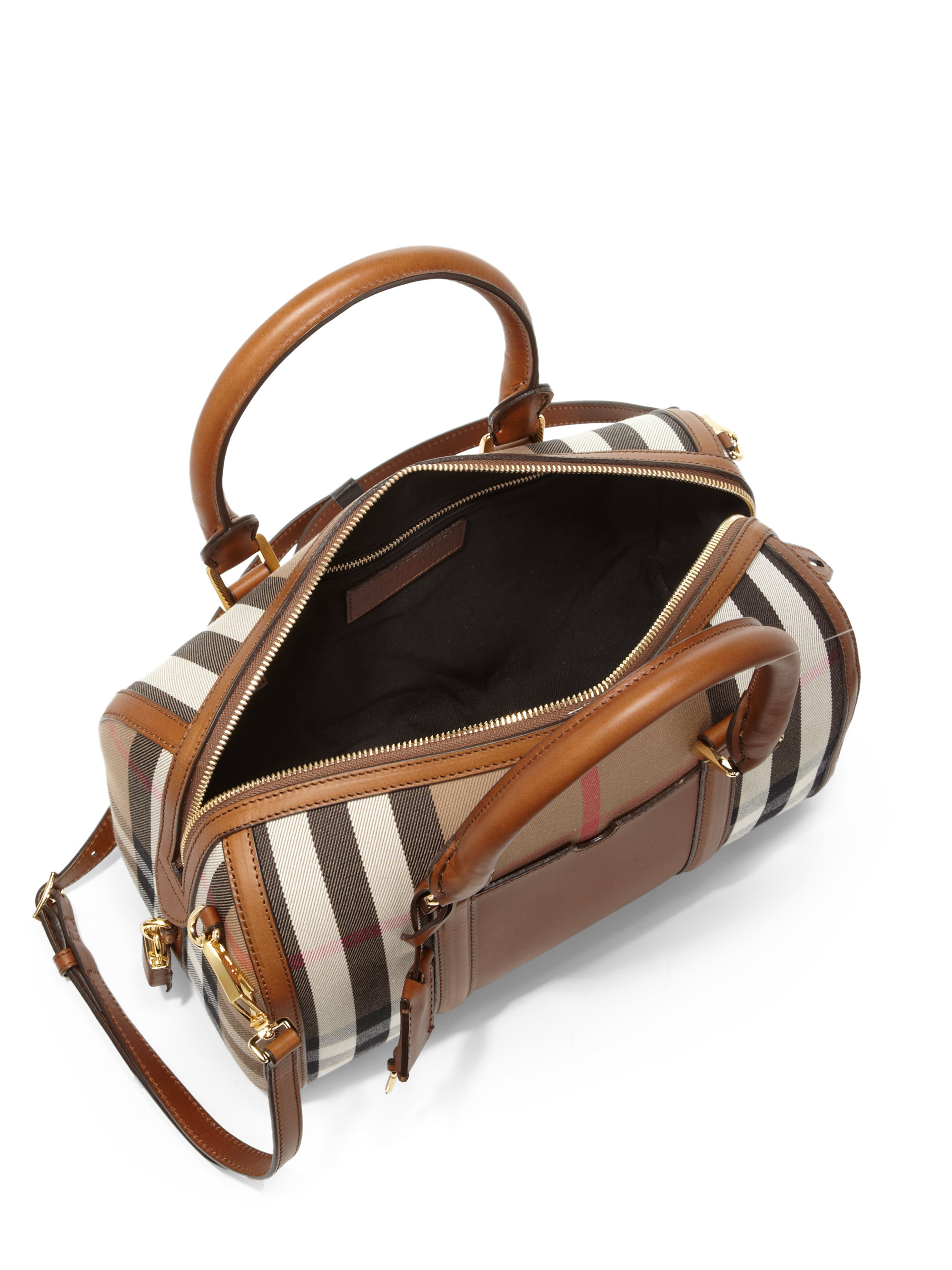 5f63eee0ff8a Lyst - Burberry Alchester Medium Mixed-Media Bowler Bag in Brown
