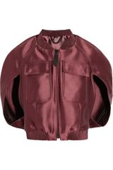 Burberry Prorsum Cropped Satin Bomber Jacket - Lyst