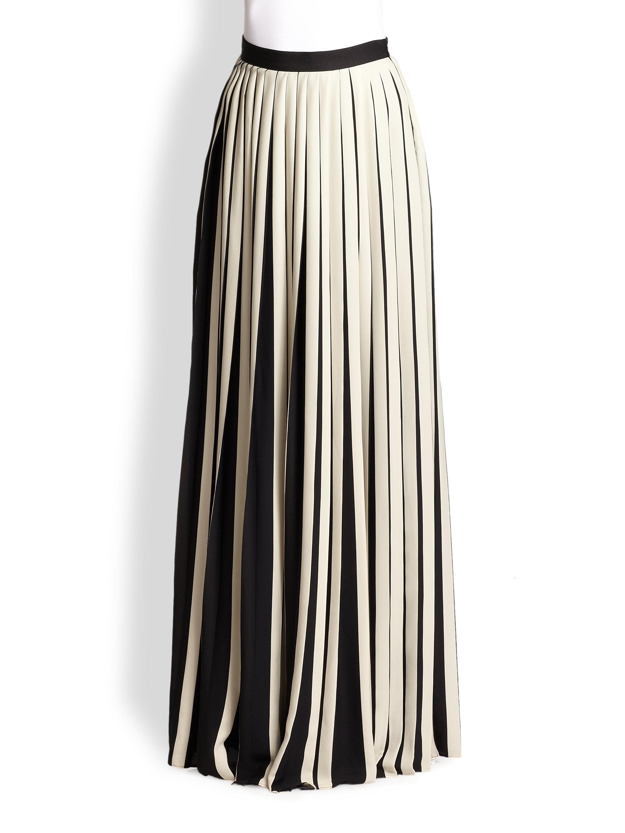 by malene birger ishrat pleated maxi skirt in white black