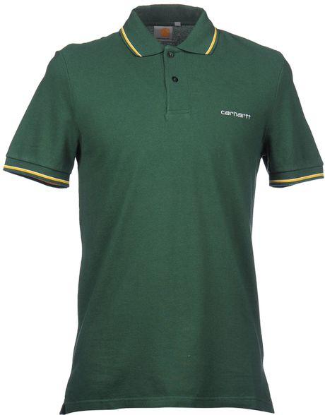 Carhartt polo shirt in green for men dark green lyst for Dark green mens polo shirt
