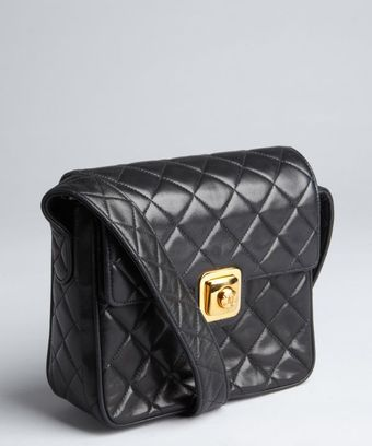 Chanel Black Quilted Lambskin Pushlock Vintage Shoulder Bag - Lyst